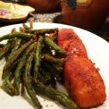 Salmon with Roasted Parmesan Encrusted Fresh Green Beans