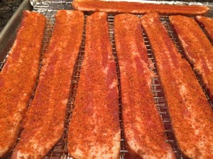 """Bacon Candy using """"Underwood's It's My Rub!"""" Smooth Blend"""