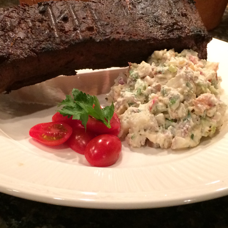 Award Winning Smoked Potato Salad  With  Gorgonzola, Bacon and Jalapeno